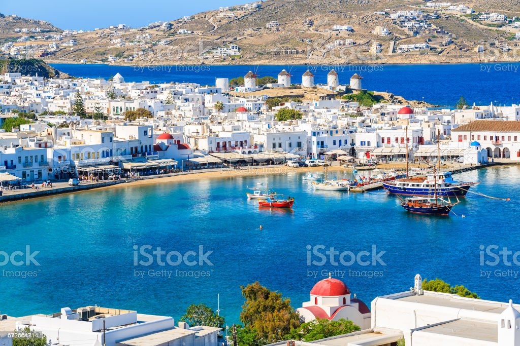 A view of Mykonos port with boats, Cyclades islands, Greece stock photo