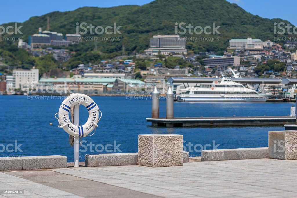 View of Nagasaki bay stock photo