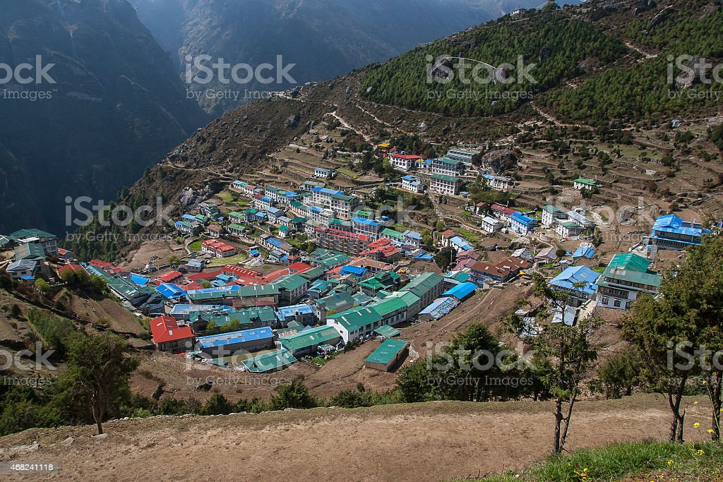 view of Namche Bazaar stock photo