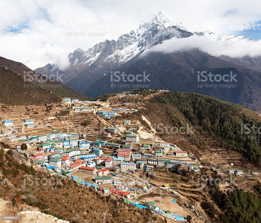 View of Namche bazar and mount thamserku stock photo