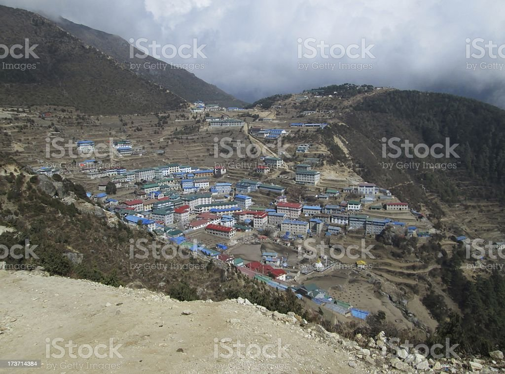 View of Namche Bazar royalty-free stock photo