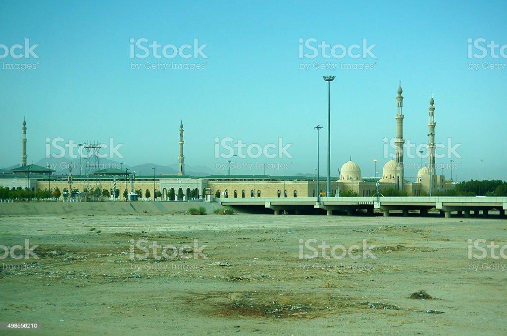 View of Namirah Mosque, Arafah, Mecca, Kingdom of Saudi Arabia. stock photo