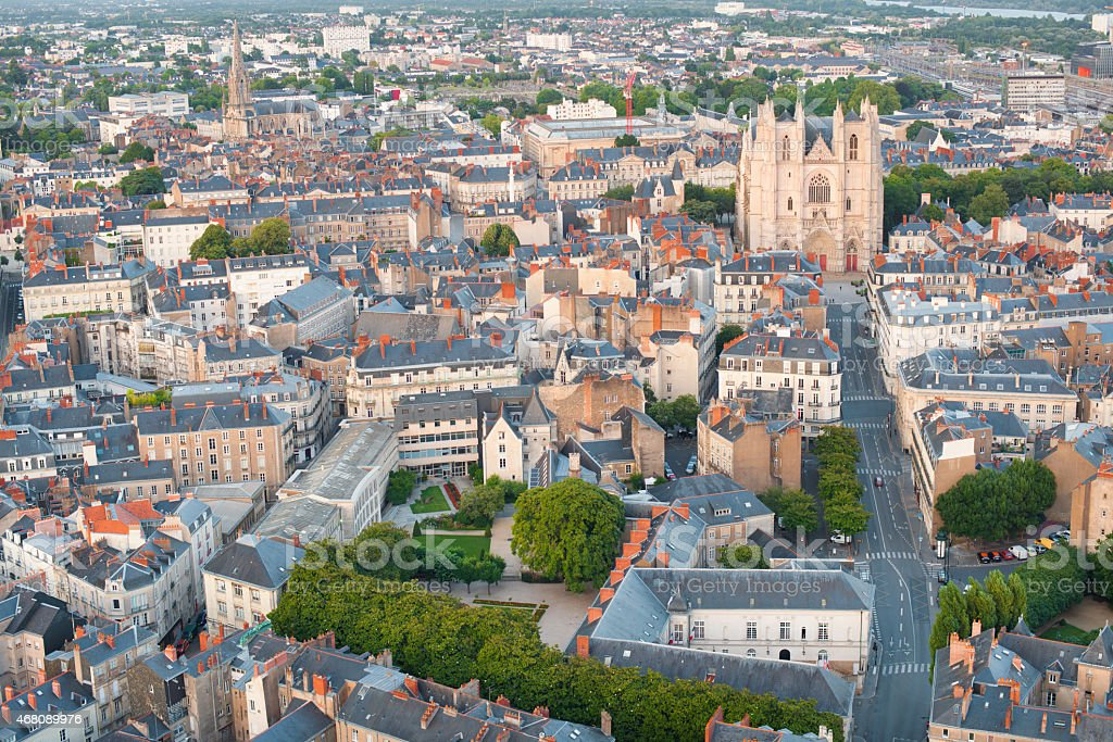 View of Nantes at a summer day stock photo