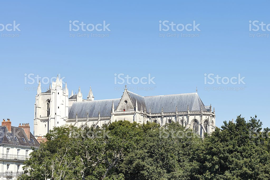 view of Nantes Cathedral, France stock photo