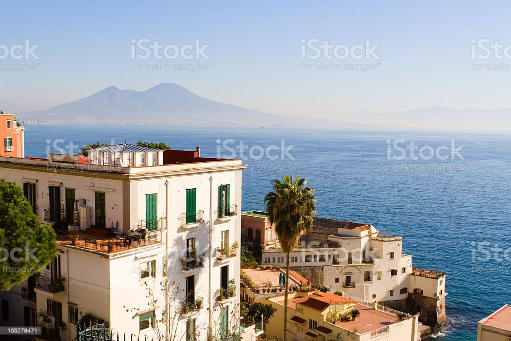View of Naples City Panorama With Vesuvious and Castel Dell'Ovo stock photo