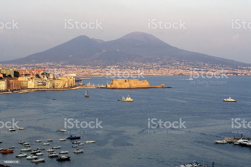 View of Naples City Panorama With Vesuvious and Castel Dell'Ovo royalty-free stock photo