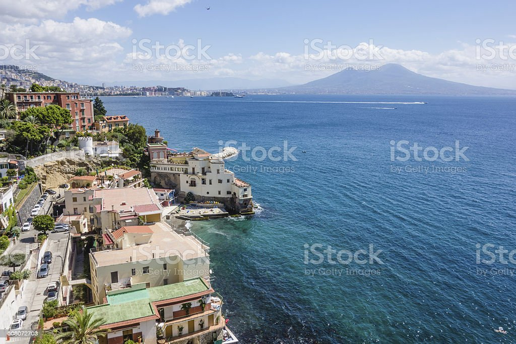 View of Naples City Panorama With Vesuvious stock photo
