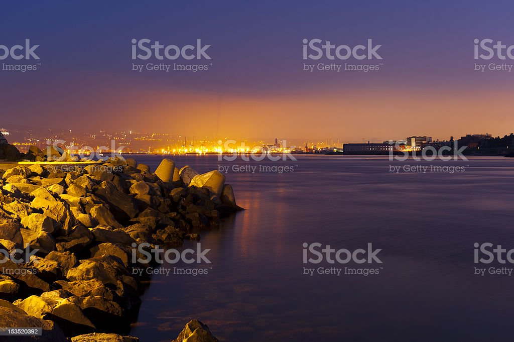View of Naples from the seaport Granatello royalty-free stock photo
