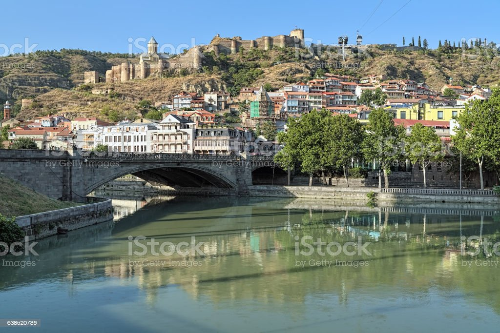 View of Narikala Fortress in Tbilisi, Georgia stock photo