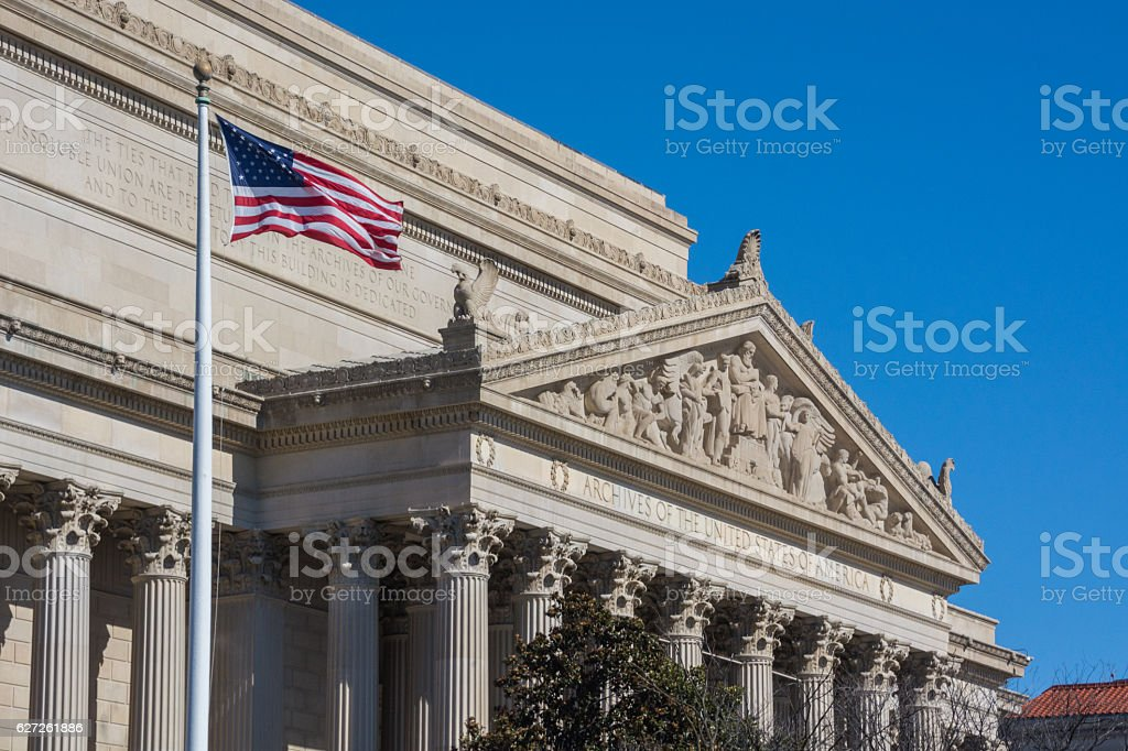 View of National Archives in Washington DC. stock photo