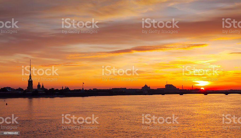 view of Neva river summer dawn stock photo