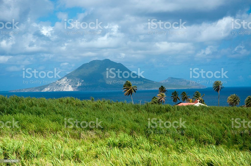 View of Nevis from St. Kitts stock photo