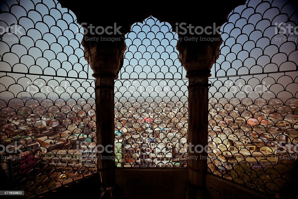 View of New Delhi from tower window stock photo