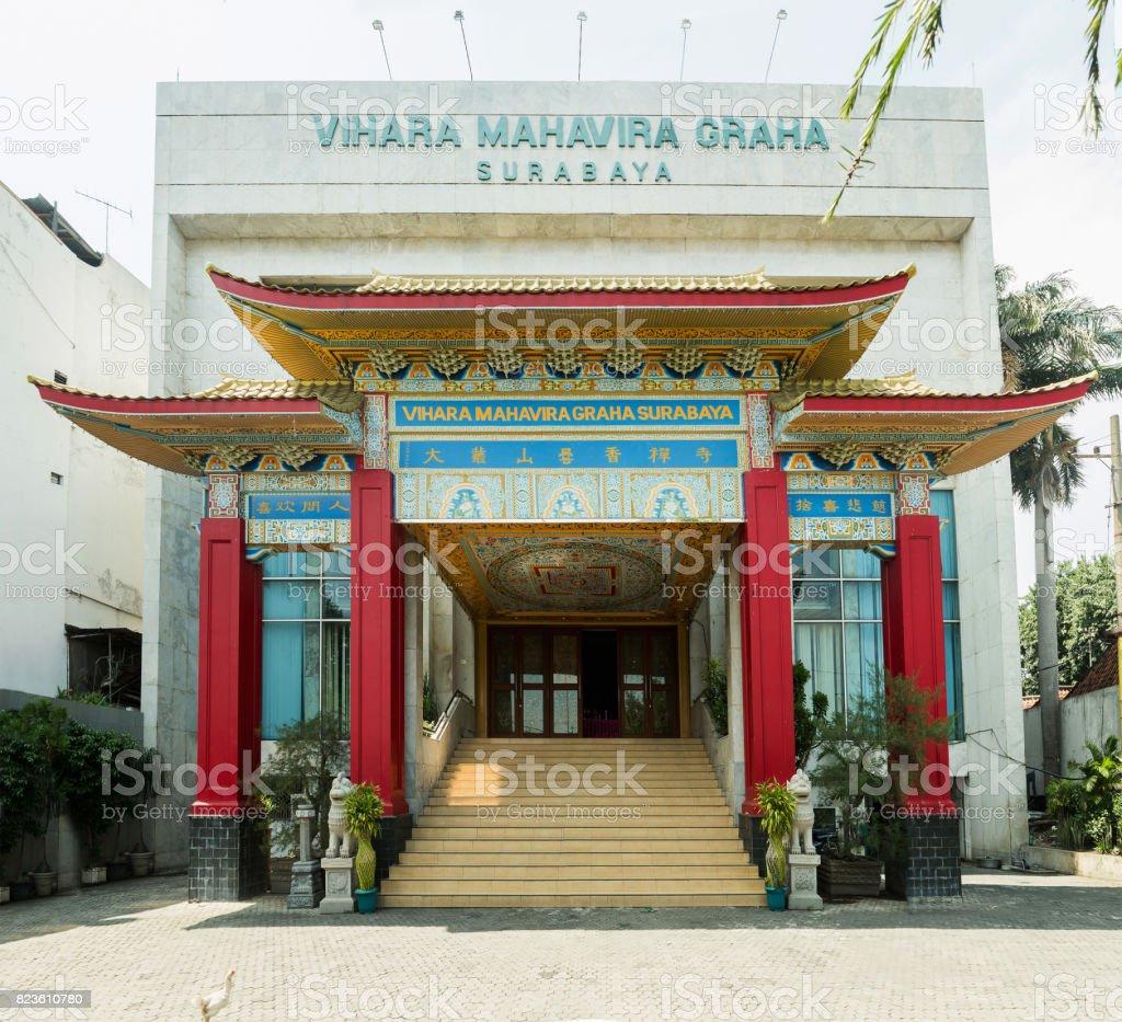 View of new monastery Vihara Mahavira Graha. Taken at Surabaya, east Java, Indonesia stock photo