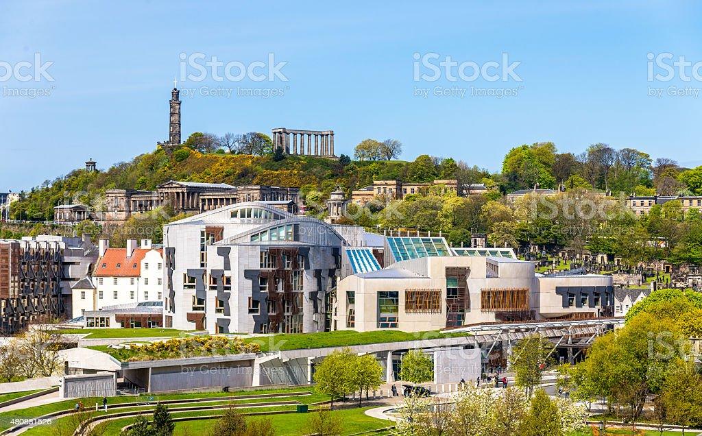 View of New Parliament House under Calton Hill - Edinburgh stock photo