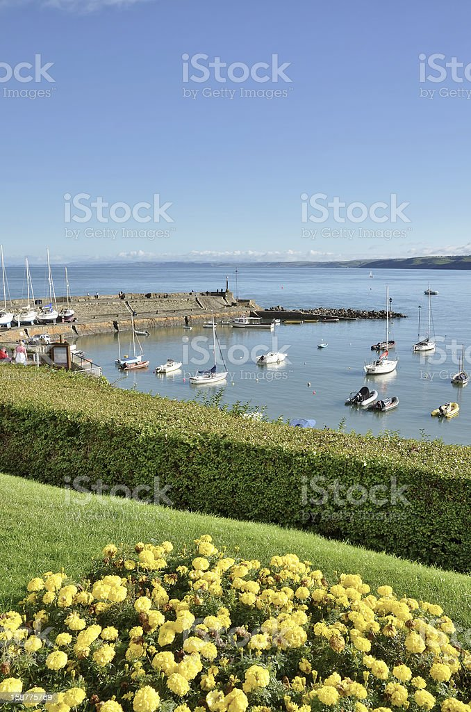 View of New Quay harbour, Cardigan Bay. stock photo