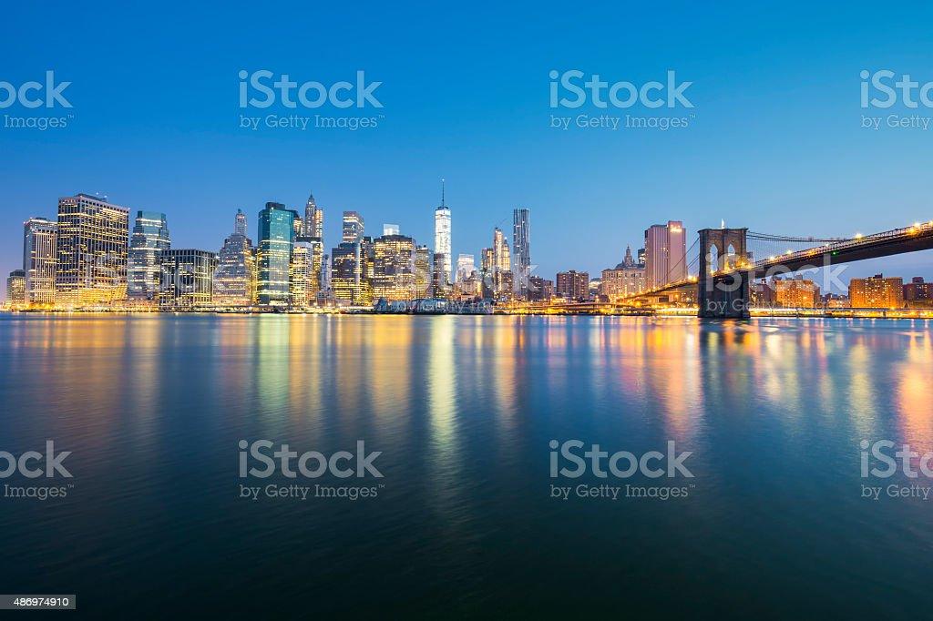 View of New York City Manhattan midtown at dusk stock photo