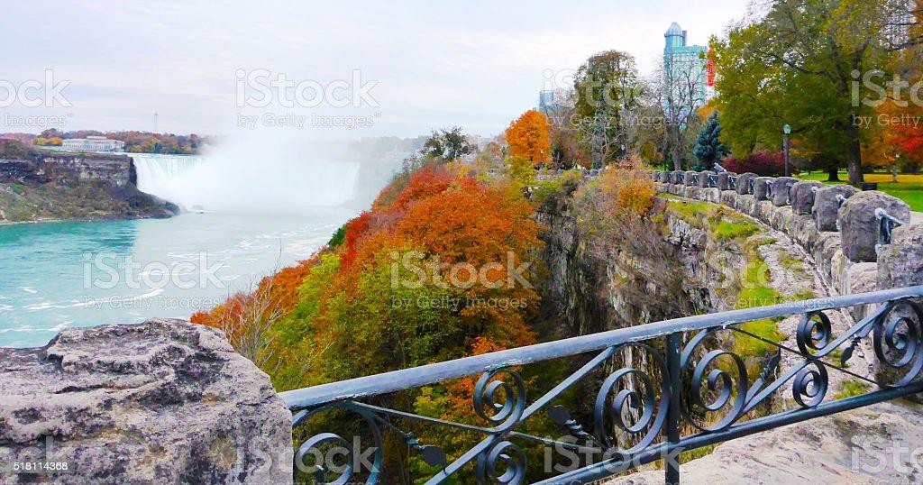 View of Niagara Falls and city stock photo