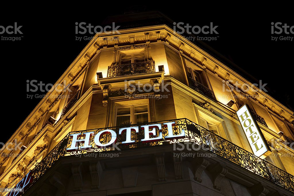 View of nice hotel lit up at night stock photo