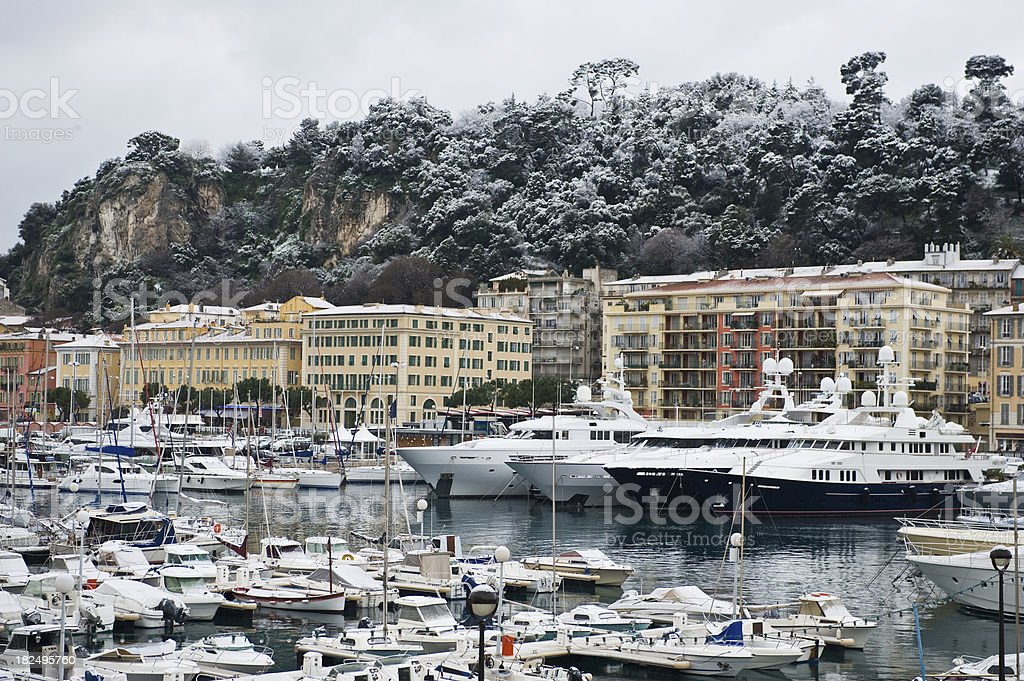View of Nice Port after a snow fall royalty-free stock photo