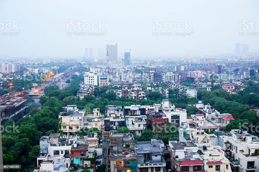 View of noida city at dawn from skyscraper stock photo