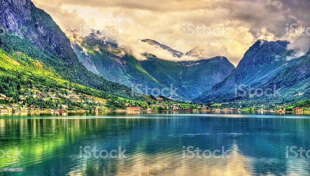 View of Nordfjorden fjord near Loen - Norway stock photo