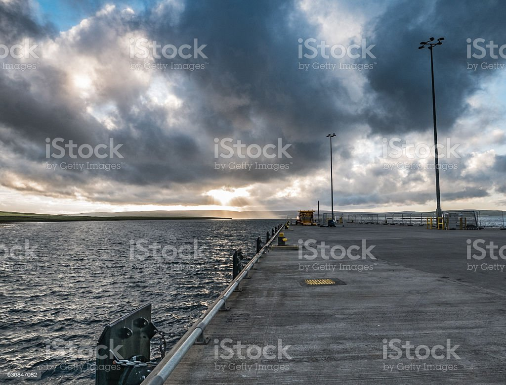 View of North Sea from Hatston Pier, Mainland, Orkney stock photo