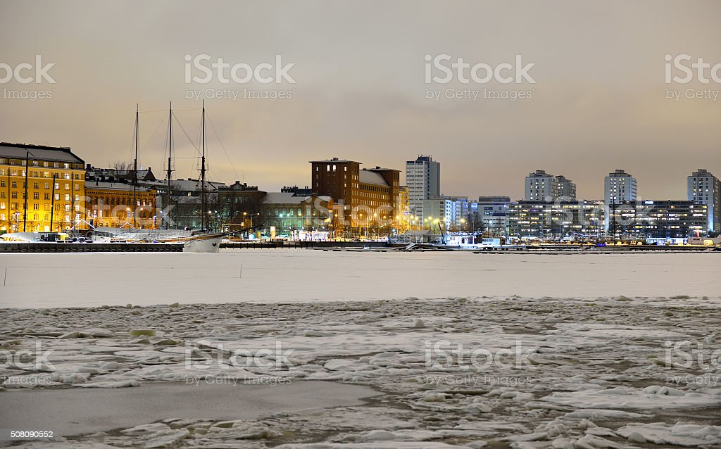 View of Northern harbor in winter evening stock photo