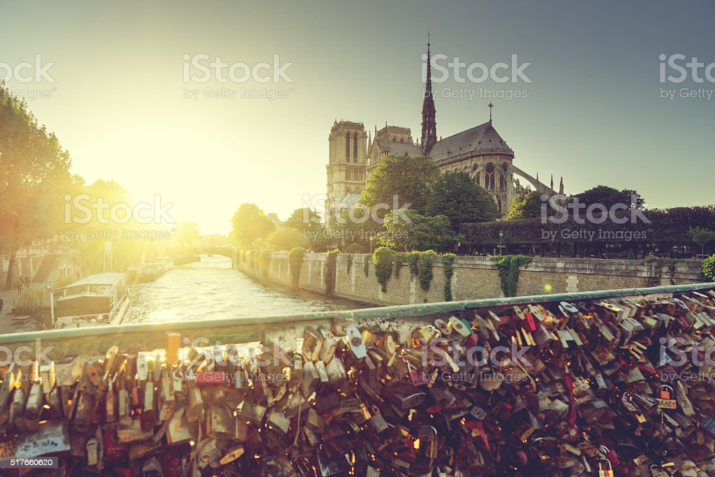 View of Notre Dame cathedral in Paris stock photo