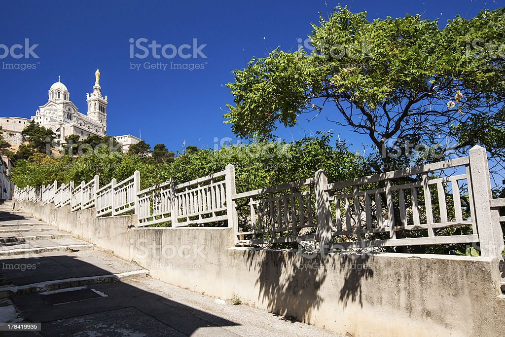 View of Notre-Dame de la Garde basilica in Marseille stock photo