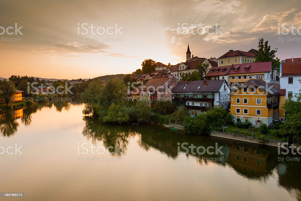 View of Novo Mesto and river Krka. Slovenia stock photo