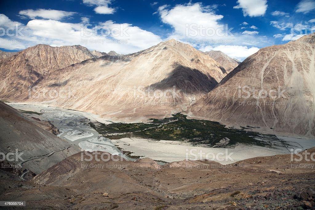 View of Nubra valley and Karakoram stock photo
