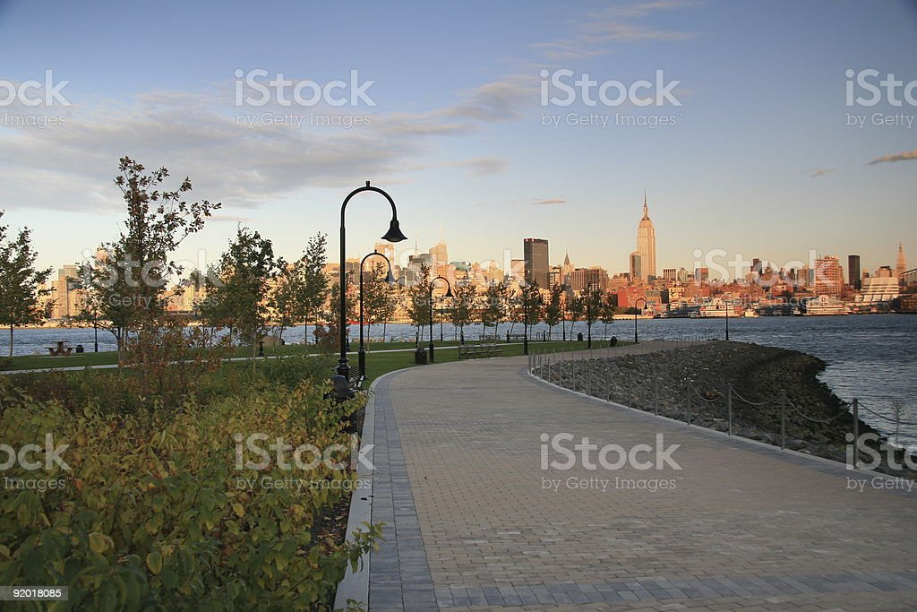 View of NYC Skyline at Dusk stock photo