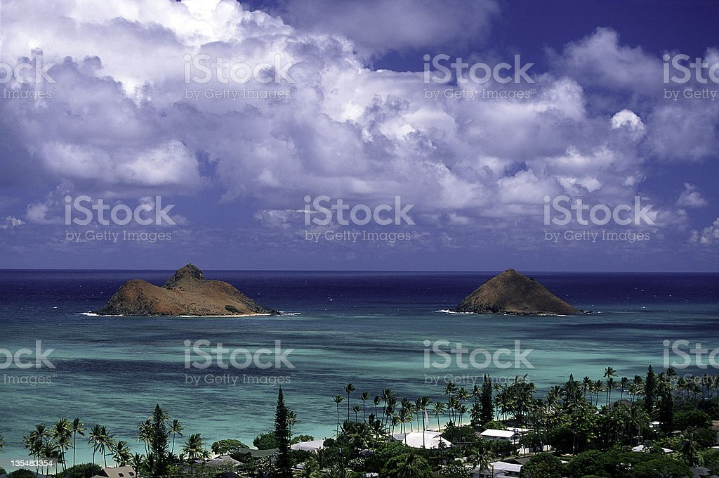 A view of Oahu, Lanikai and the Mouku Lua Islands in Hawaii royalty-free stock photo