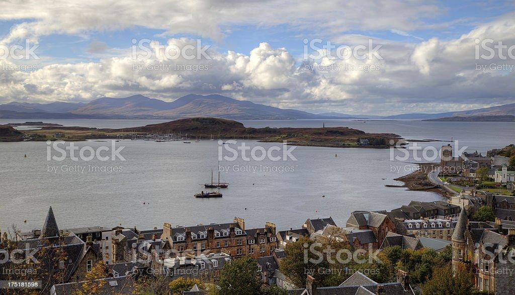 view of Oban, Scotland. Harbor  stock photo