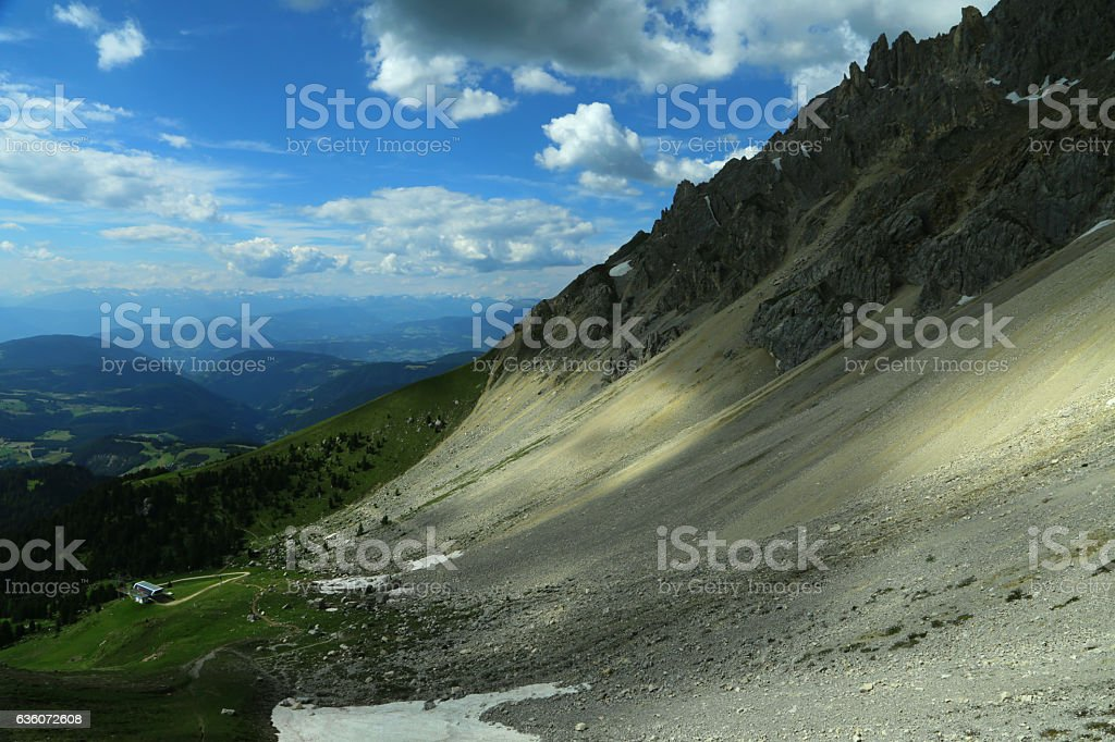 View of Obereggen ski area in summer, from Latemar mountain stock photo