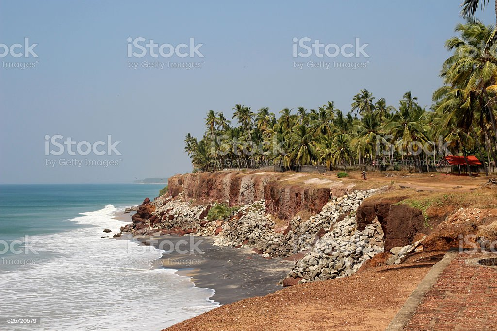 View of ocean and plenty palms from steep in Kerala royalty-free stock photo