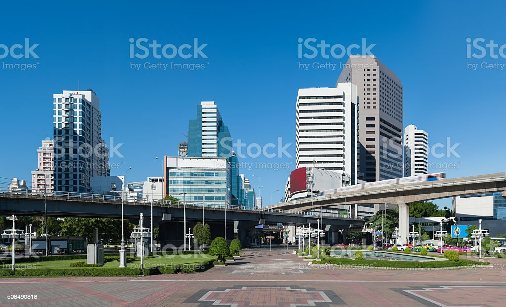 View of office buildings in downtown Bangkok stock photo