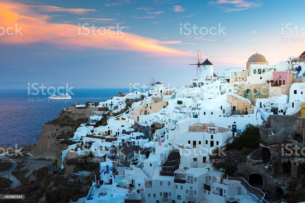 View of Oia the most beautiful village of Santorini island. stock photo