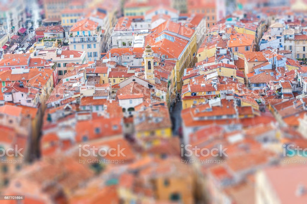 View of old center of Nice. Cote d'Azur, French Riviera. stock photo
