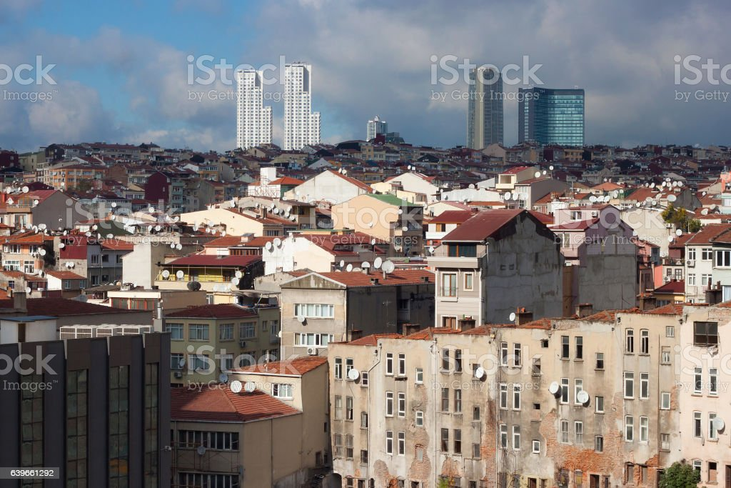 View of old houses of Istanbul in the Beyoglu district. stock photo