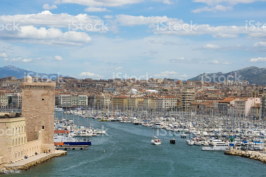 View of old port in Marseille, France stock photo