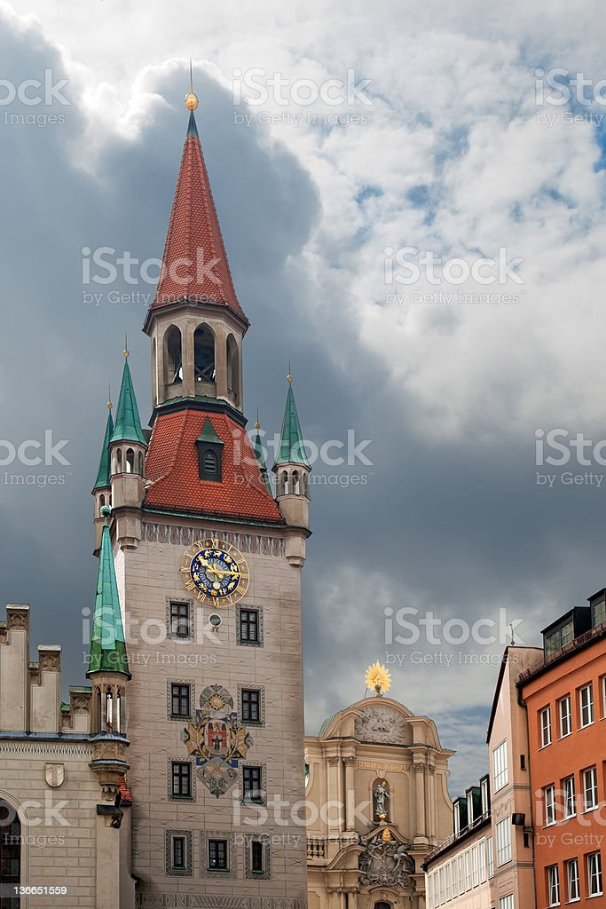 View of old town hall at Marienplatz in Munich Germany. stock photo