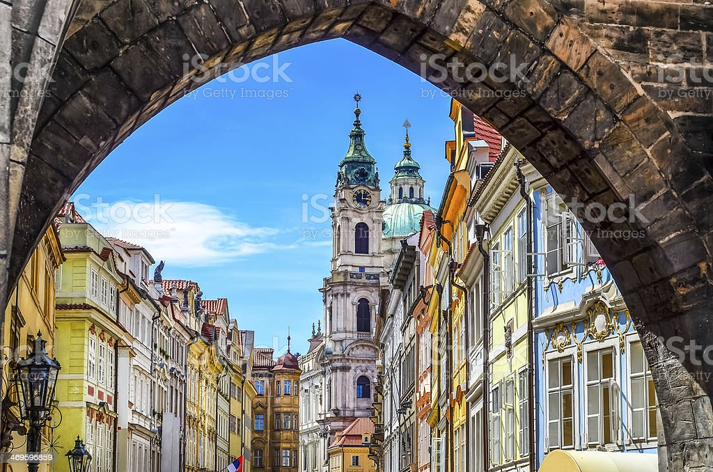 View of old town in Prague taken from Charles bridge stock photo