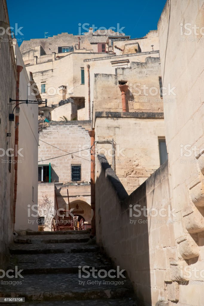 View of old town of Matera. stock photo