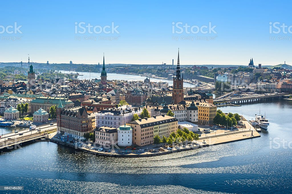 view of Old Town or Gamla Stan in Stockholm, Sweden stock photo