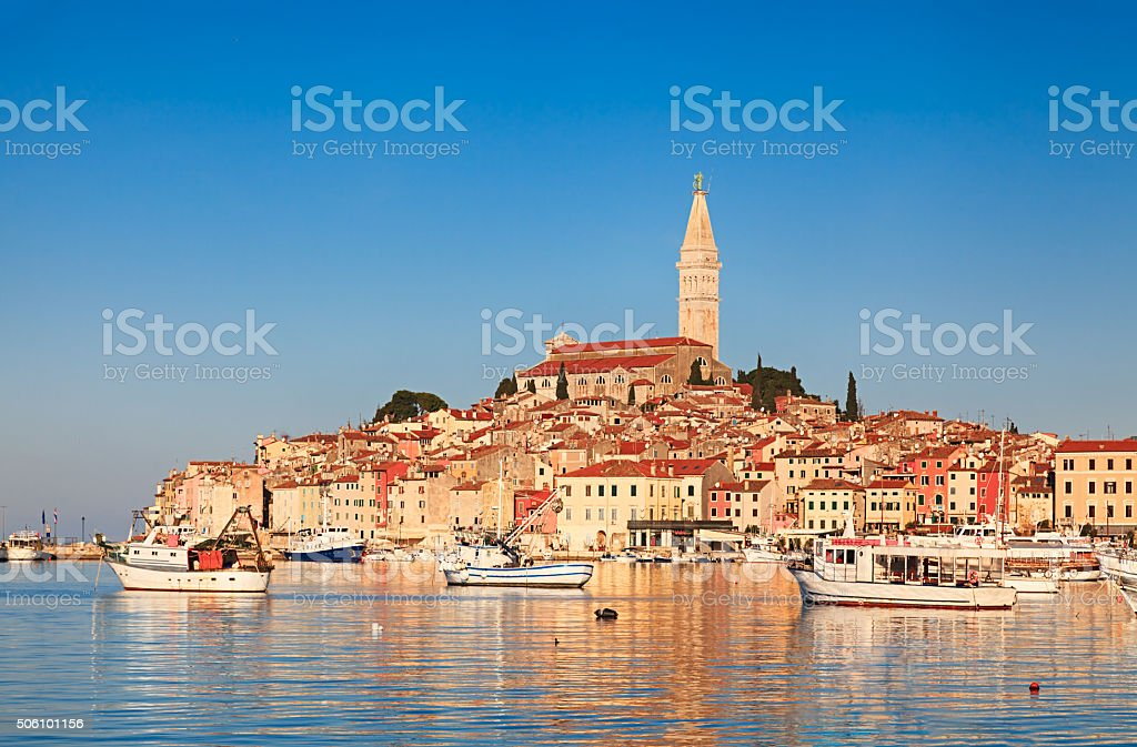 View of old town Rovinj, Croatia stock photo