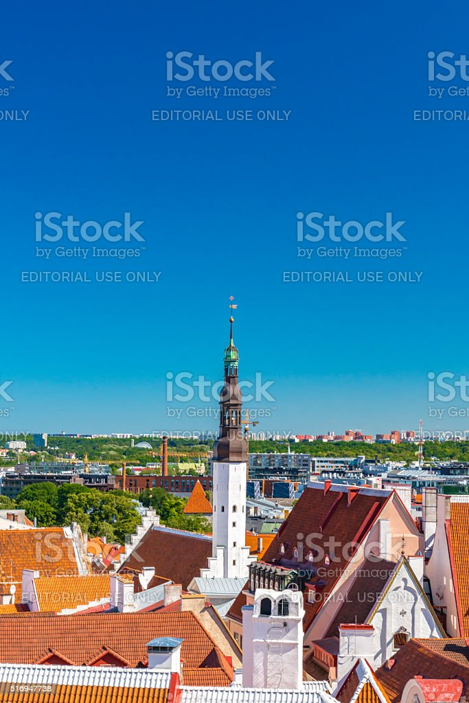View of Old Town Tallinn from Toompea Hill stock photo