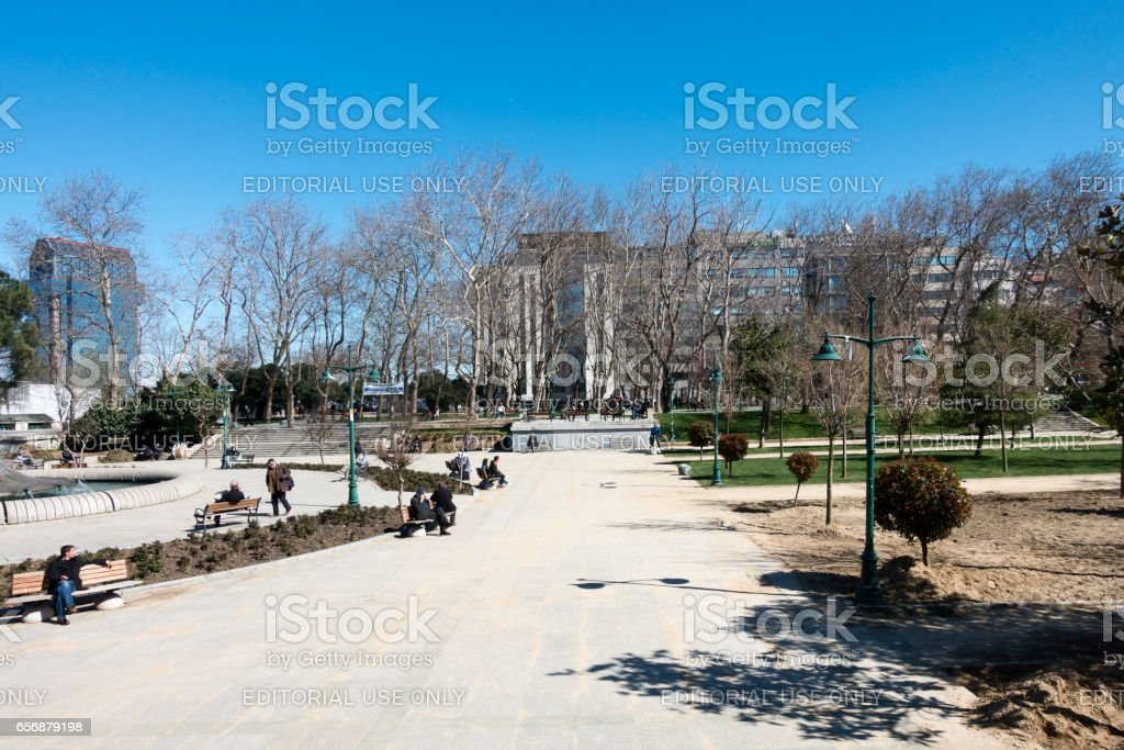 View of old water fountain at Taksim Gezi Park in İstanbul stock photo