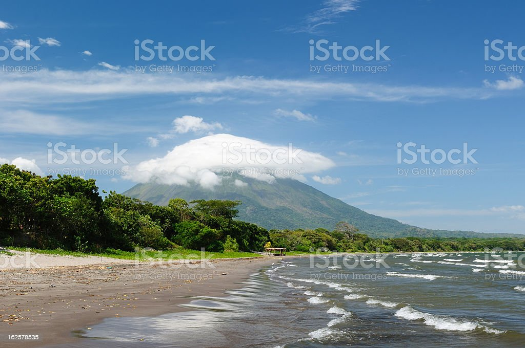 A view of Ometepe Island in Nicaragua stock photo
